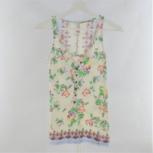 Free People 100% cotton floral tank top size M